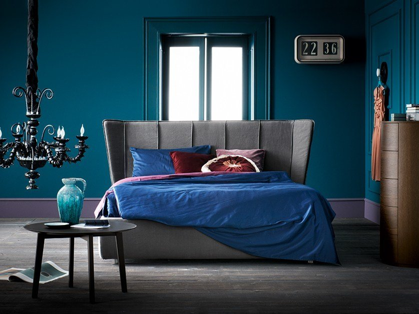 Fabric double bed with high headboard CÉLINE - Dall'Agnese