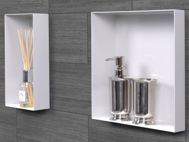 Stainless steel wall niche / bathroom wall shelf C-BOX White - Easy Sanitary Solutions