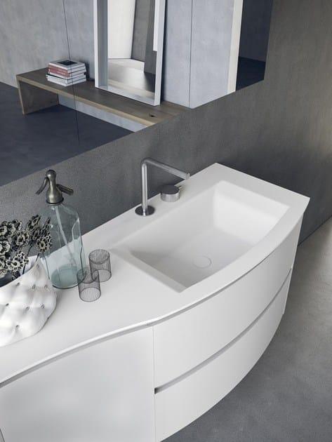 Mobile lavabo sospeso con cassetti con specchio calix ...