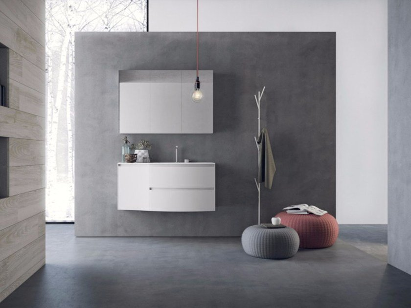 Wall-mounted vanity unit with drawers with mirror CALIX - COMPOSITION A07 - NOVELLO