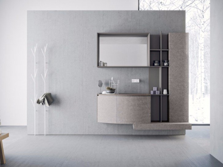 Wall-mounted HPL vanity unit with drawers with mirror CALIX - COMPOSITION A10 - NOVELLO