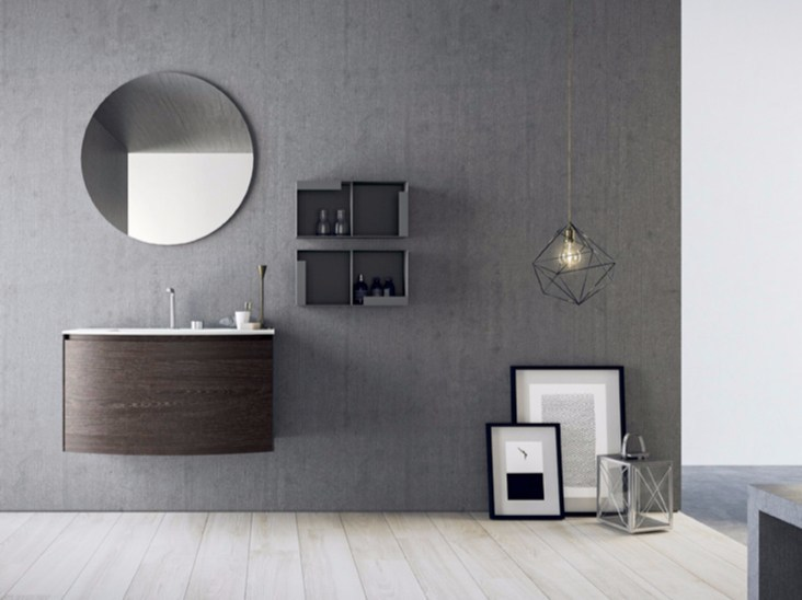 Wall-mounted HPL vanity unit with drawers with mirror CALIX - COMPOSITION A11 - NOVELLO