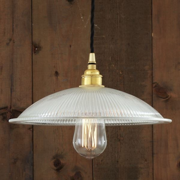 Direct light handmade pendant lamp CALIX SHALLOW HOLOPHANE PENDANT - Mullan Lighting
