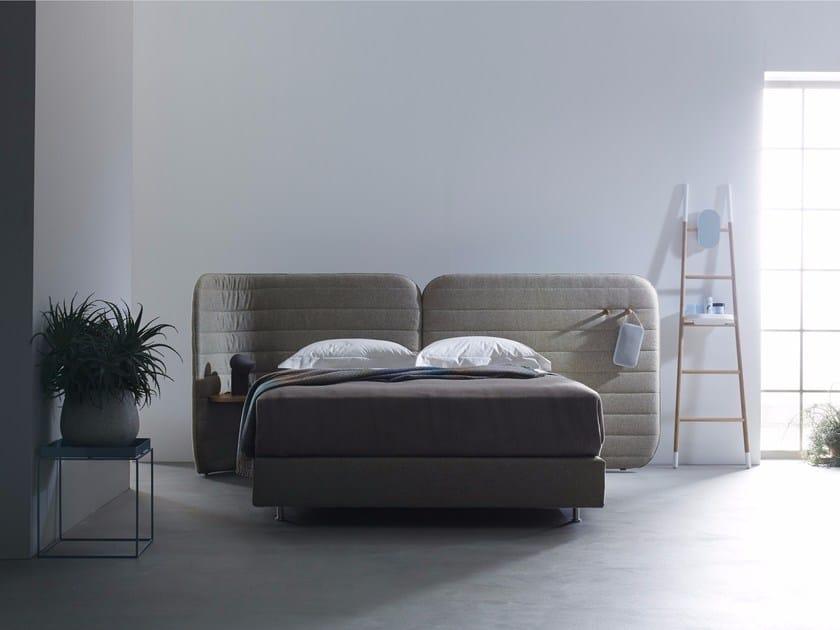 Fabric double bed with upholstered headboard CALM I - Schramm Werkstätten