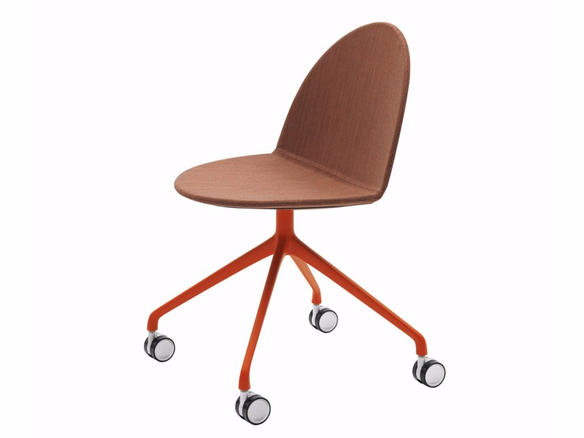 Trestle-based fabric chair with casters CAMEL | Chair with casters - Segis