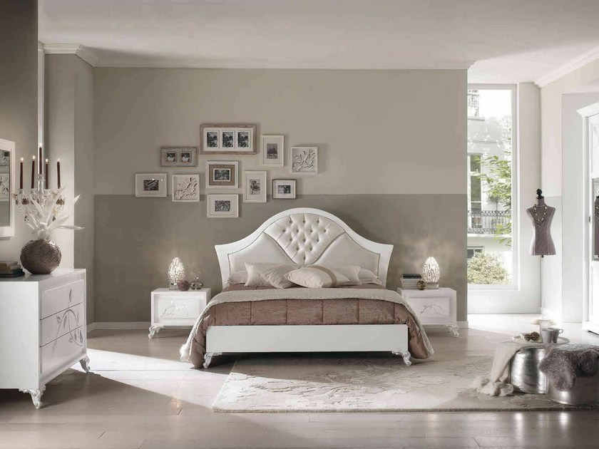 Double bed with tufted headboard CAMELIA | Lacquered bed - Arvestyle