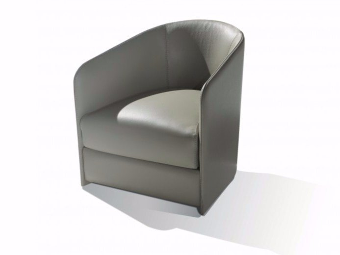 Upholstered leather armchair with armrests CAMILLE | Armchair - Canapés Duvivier