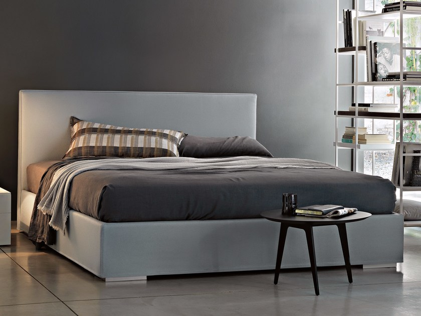 Upholstered fabric storage bed with removable cover CAMILLE - Lema