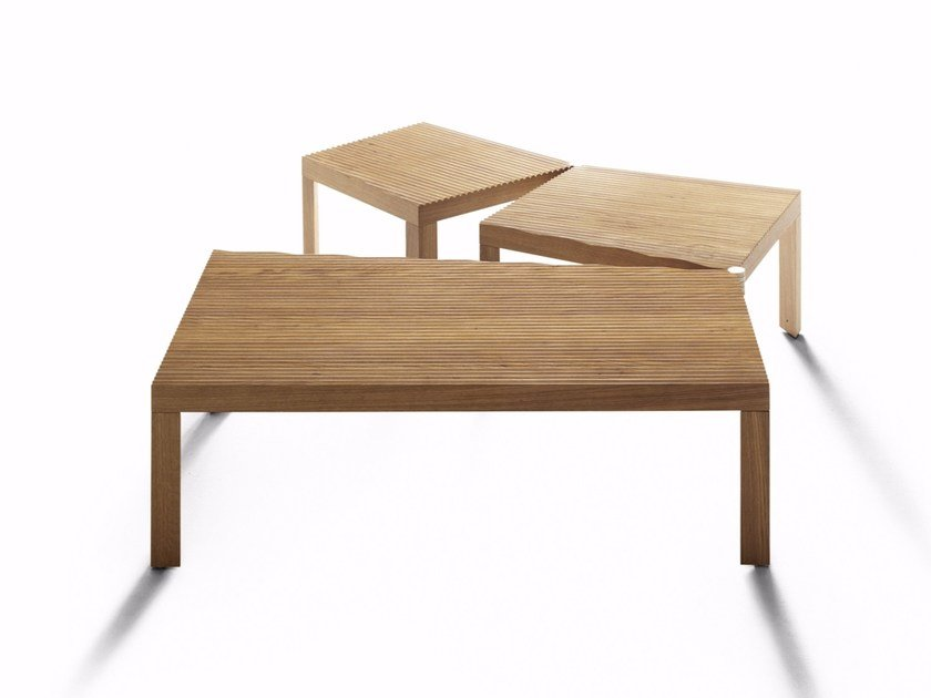 Square wood-product coffee table CAMPO ARATO by DE PADOVA