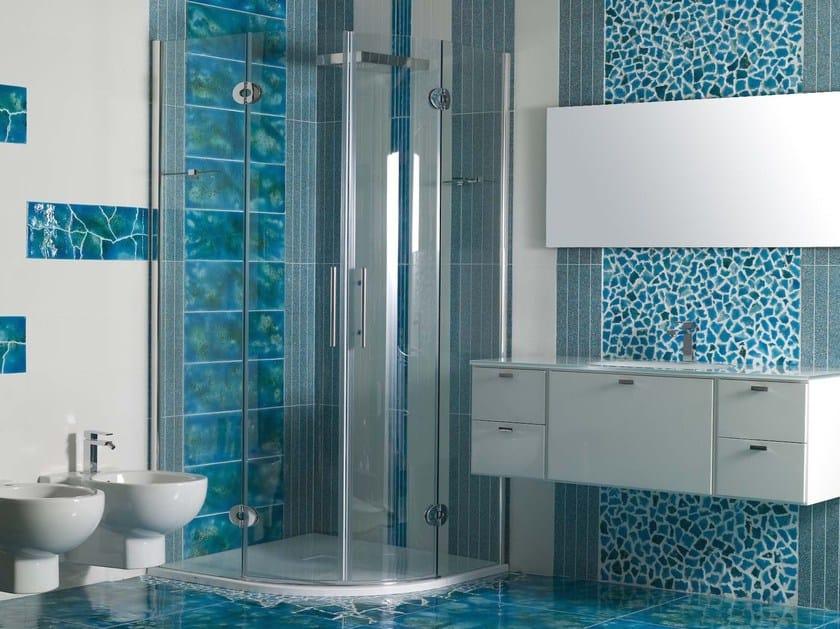 Piastrelle bagno mosaico azzurro bagno con mosaico bianco e