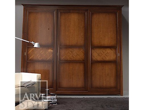 Solid wood wardrobe with sliding doors NAIMA | Wardrobe with sliding doors - Arvestyle