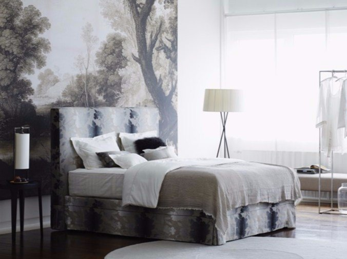 Double bed with removable cover with upholstered headboard CANNES - Schramm Werkstätten