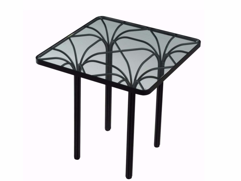 Square glass and steel coffee table CANOPY - ROCHE BOBOIS