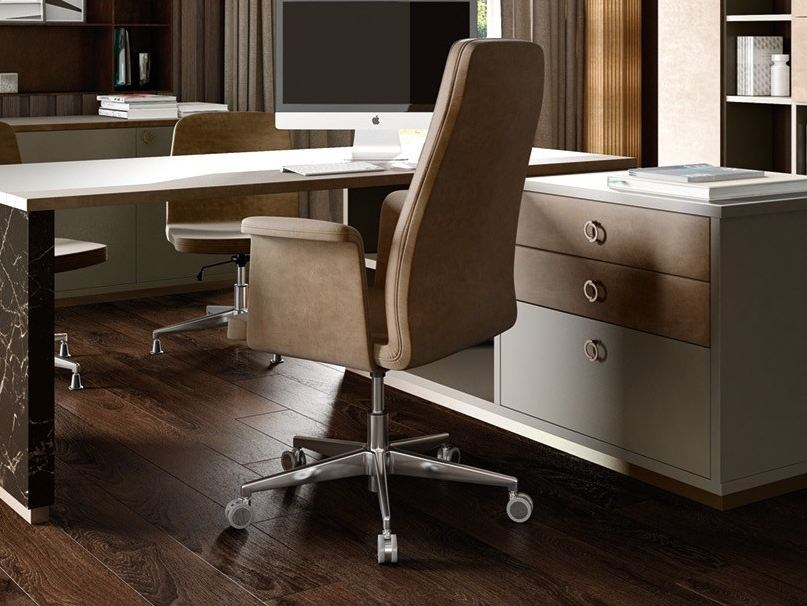 Contemporary style height-adjustable leather executive chair with armrests with headrest CAPITAL | Height-adjustable executive chair - Caroti
