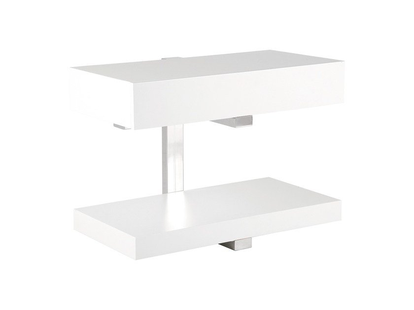 Lacquered rectangular coffee table with storage space CARAPAU | Side table by Branco sobre Branco