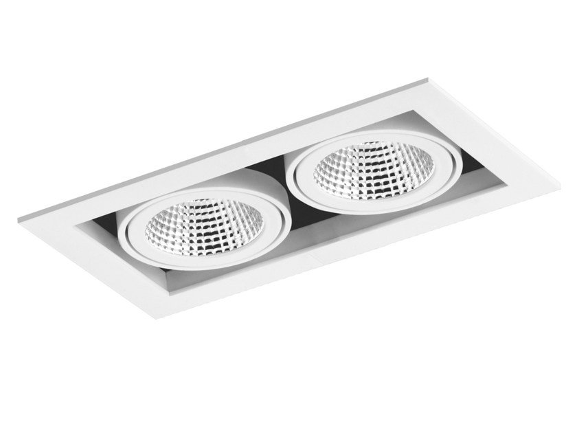 LED rectangular recessed aluminium spotlight CARDAN 2x33W - LED BCN Lighting Solutions