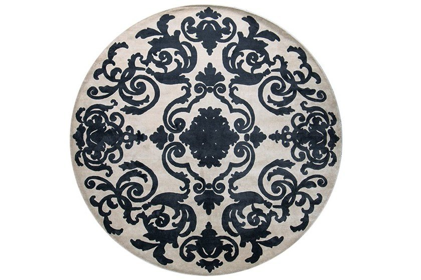 Handmade round custom rug CARDINAL CIRCLE CHARCOAL - EDITION BOUGAINVILLE