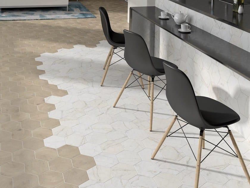 Carrara Hexagon / Hexawood Tan 17,5x20