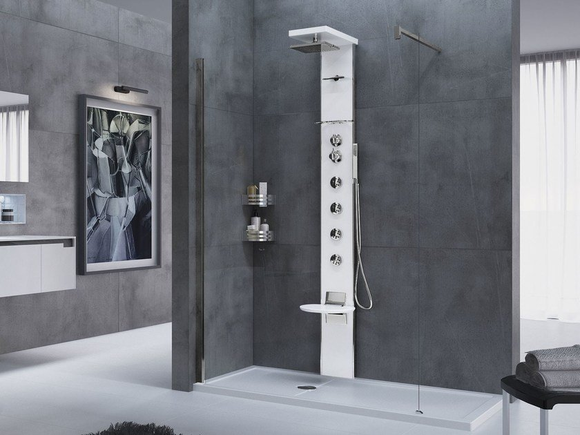 Wall-mounted multifunction shower panel CASCATA - NOVELLINI