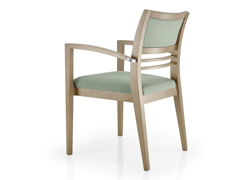 Open back leather chair with armrests CASSIS | Chair with armrests by JMS