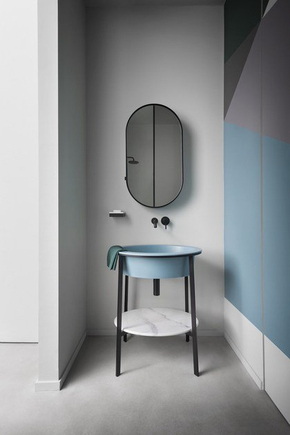 Floor-standing single vanity unit CATINO OVALE by Ceramica Cielo