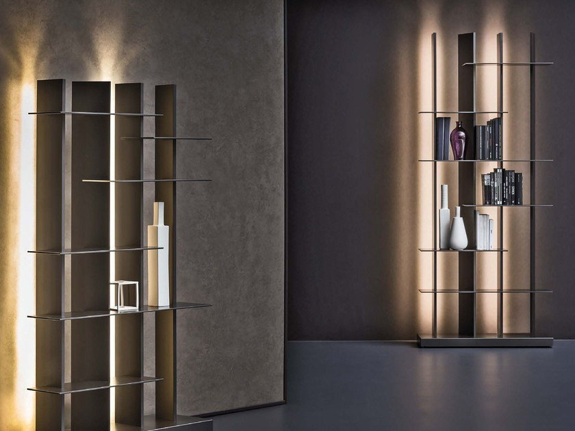 Open bookcase with built-in lights CCLIGHT - Natevo