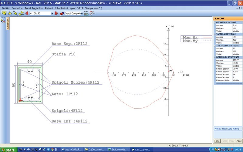 Sezione rettangolare rinforzata con incamiciatura in cls