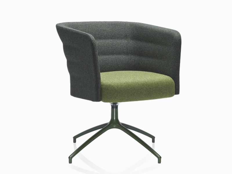 Upholstered guest chair with armrests CELL 75 | Trestle-based easy chair - SitLand