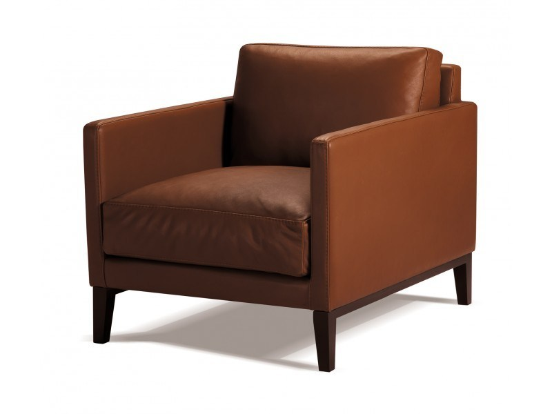 Upholstered leather armchair with armrests CENTQUATRE | Armchair - Canapés Duvivier