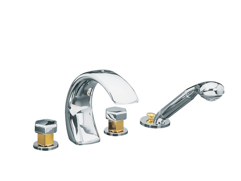 Contemporary style 4 hole gold colour metal bathtub set with hand shower CHAMBORD | 4 hole bathtub tap - rvb