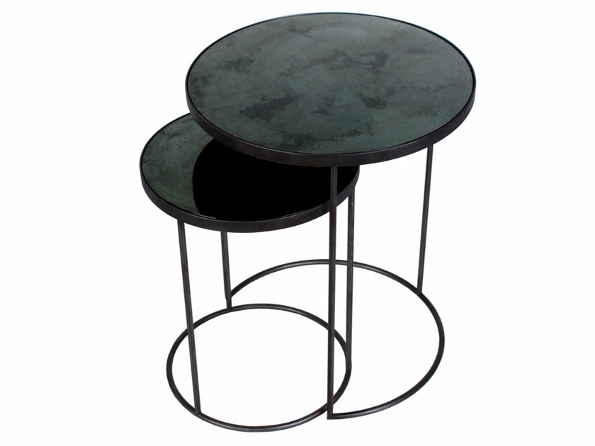 Round side table CHARCOAL NESTING SIDE TABLE SET - Notre Monde