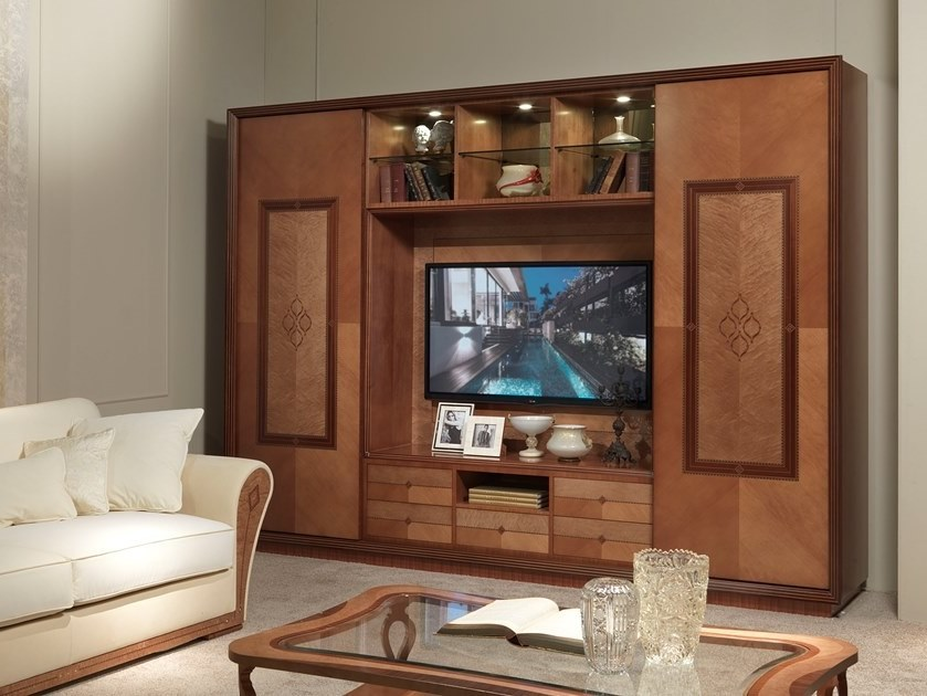 Wooden TV wall system CHARME | Storage wall - Carpanelli Classic