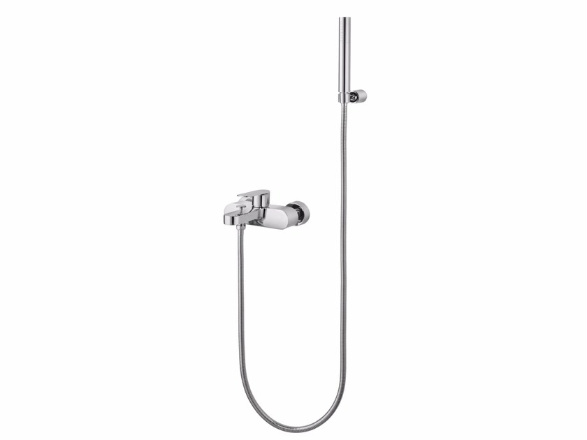Wall-mounted single handle bathtub mixer with hand shower CHARMING PLUS | Bathtub mixer with hand shower - JUSTIME