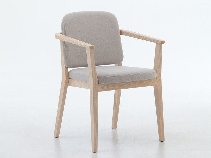 Contemporary style upholstered stackable wooden easy chair with armrests CHELSEA 02 by Very Wood