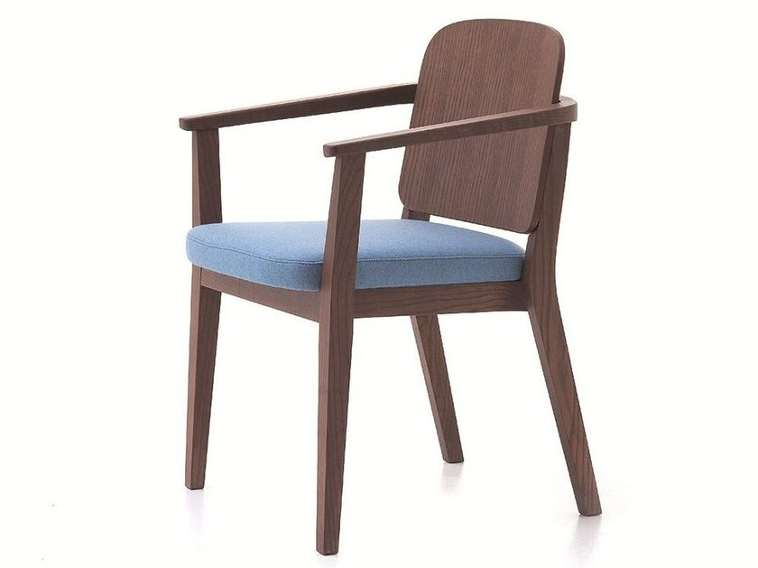 Contemporary style upholstered stackable wooden easy chair with armrests CHELSEA 12 - Very Wood