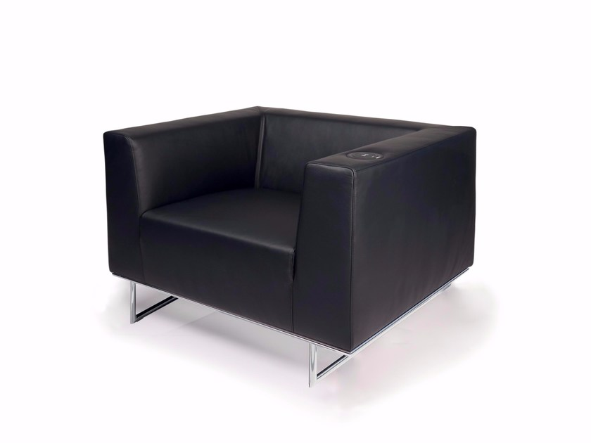 Upholstered leather armchair with armrests CHIC | Armchair - Luxy