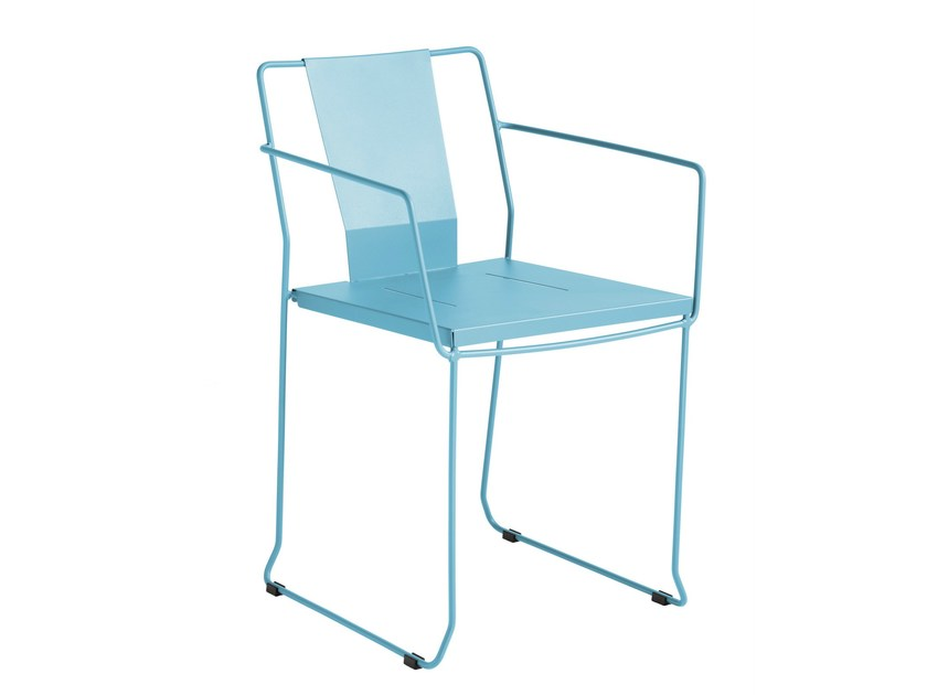 Sled base galvanized steel chair with armrests CHICAGO | Chair with armrests - iSimar