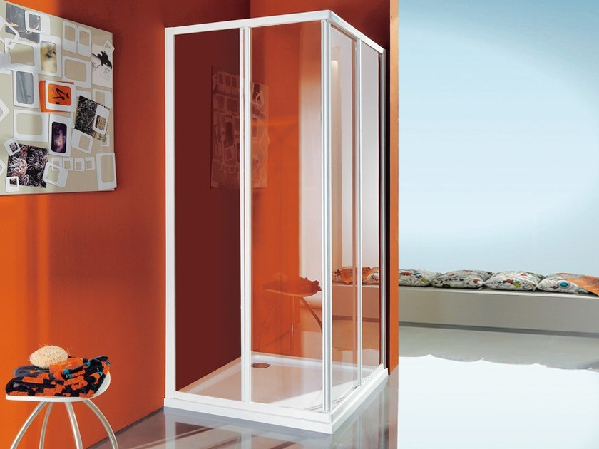 Corner shower cabin with tray with sliding door CIAO   Shower cabin with sliding door by Samo