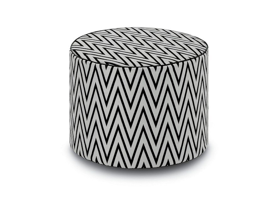 Upholstered fabric pouf with removable lining CILINDRO - MissoniHome