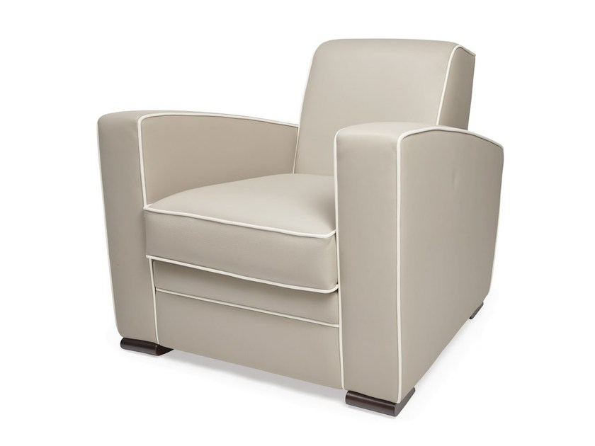 Upholstered tanned leather armchair with armrests CITIZEN | Armchair by HUGUES CHEVALIER