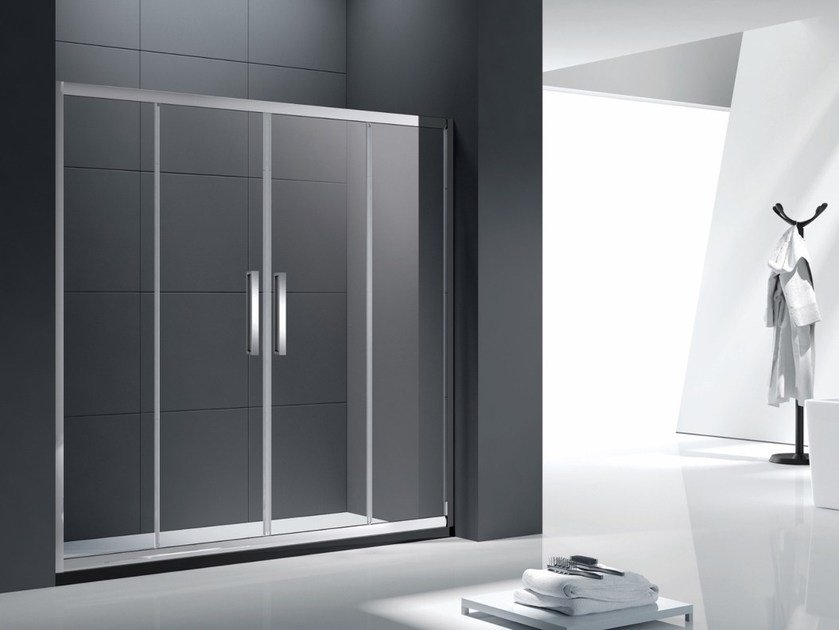 Niche tempered glass shower cabin with sliding door CLASSIC - International Swiss Concepts