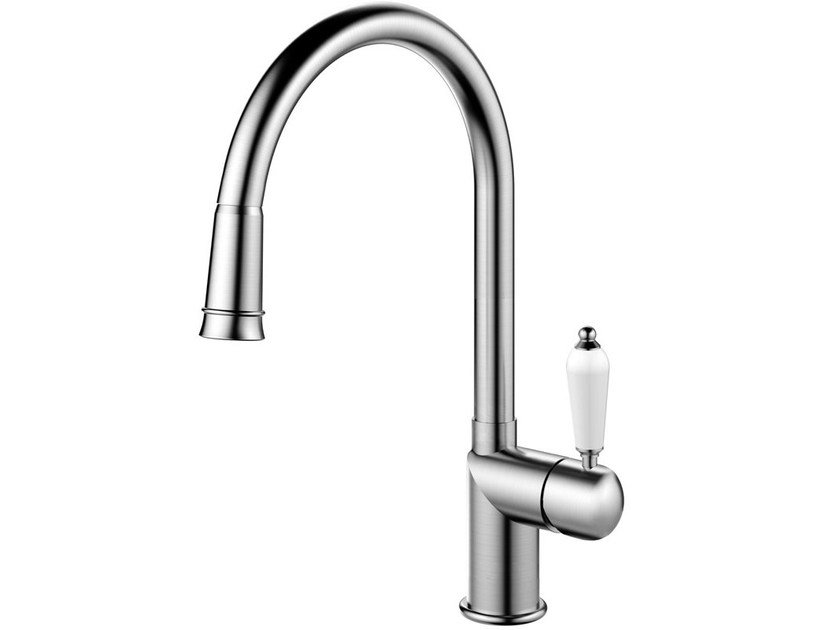 Brushed-finish stainless steel kitchen mixer tap with pull out spray CLASSIC LINE CL-200 by Nivito