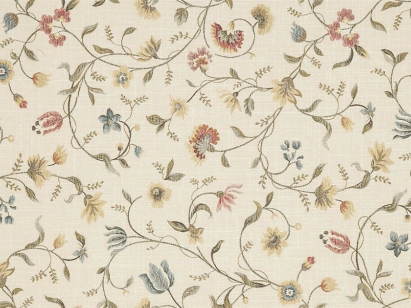 Viscose fabric with floral pattern for curtains CLAVELINA - Gancedo