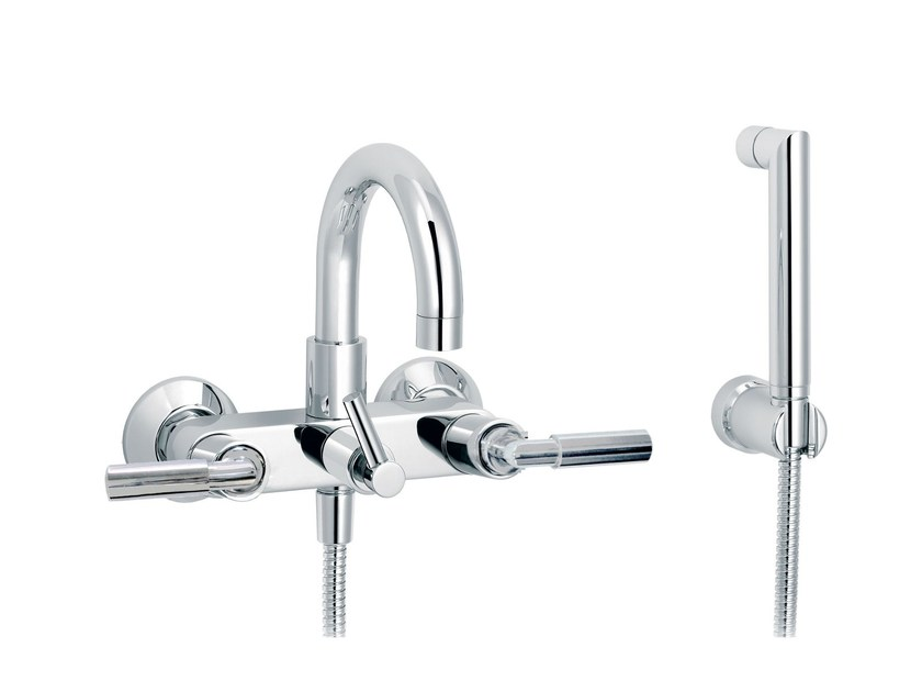 2 hole wall-mounted bathtub set with hand shower CLIFF | Wall-mounted bathtub set - rvb