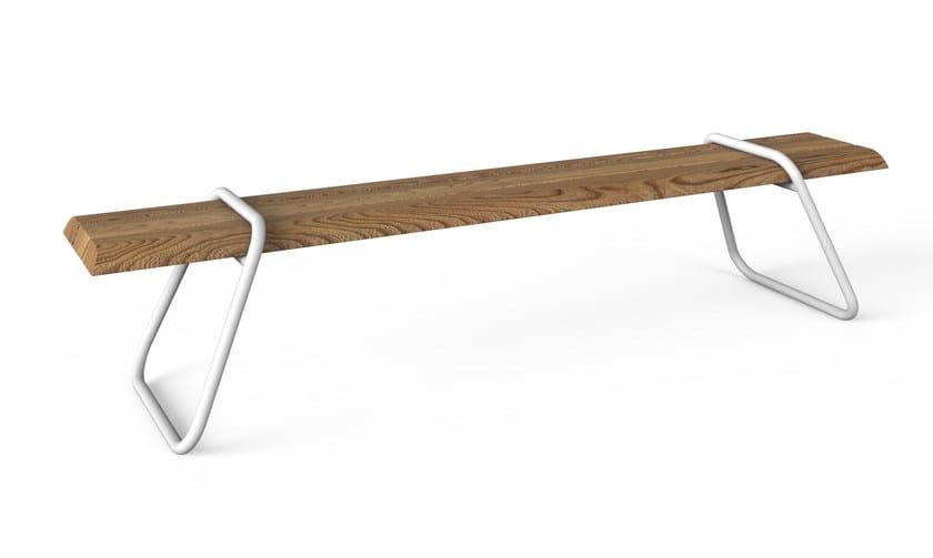Panca da giardino in acciaio inox e legno CLIP-BOARD | Panca da giardino - Lonc
