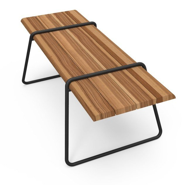 Rectangular stainless steel and wood table CLIP-BOARD | Table - Lonc