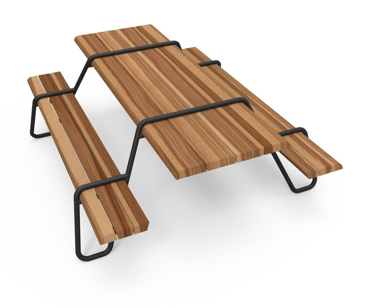 Stainless steel and wood picnic table with integrated benches CLIP-BOARD | Picnic table - Lonc