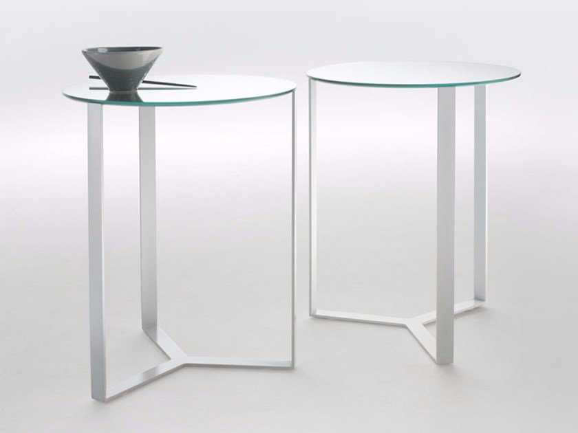 Round glass and steel coffee table CLIP | Glass and steel coffee table by Marelli
