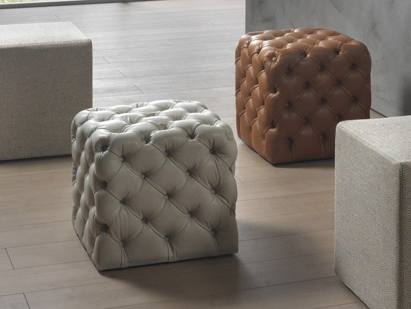 Tufted upholstered pouf CLOD | Leather pouf - Pacini & Cappellini