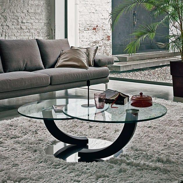 Tavolino Salotto Piani Girevoli Cobra Inox Cattelan : Tavolino rotondo in cristallo cobra cattelan italia